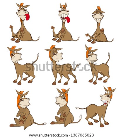 Vector Illustration of a Cute Cartoon Character Burro for you Design and Computer Game. Set