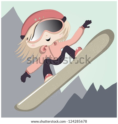 Vector illustration of a cute cartoon girl jumping on a snowboarding.