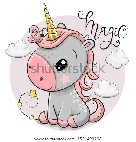 Vector illustration of a Cute Cartoon unicorn with gold horn and clouds