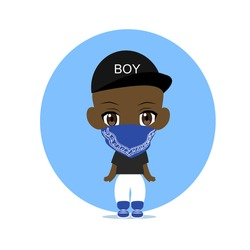 vector illustration of a cute chibi anime funny boy with a blue bandana on her face and a black cap