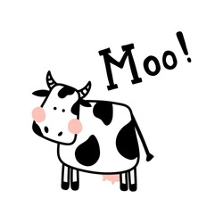 vector illustration of a cute cow on isolated background and hand lettering Moo text