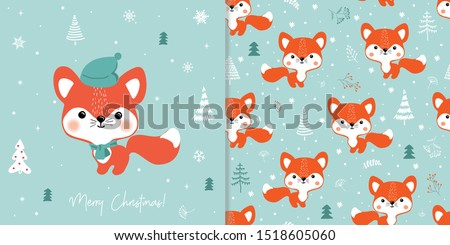 Vector illustration of a cute Fox  in a winter forest. Greeting Christmas card and seamless pattern.