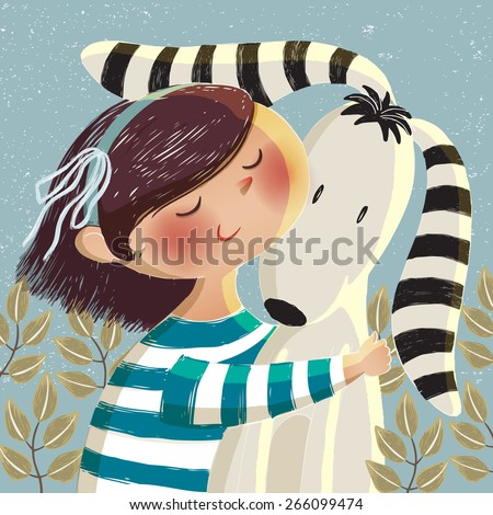 Vector illustration of a cute girl hugging a dog with long ears in blue background with leaves for thank you card and birthday card.