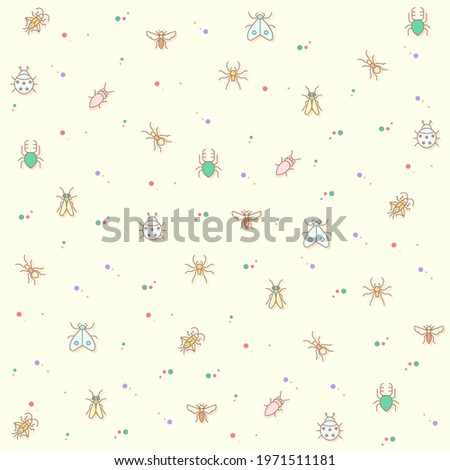 Vector illustration of a cute insect and bug. Collection of mosquito, mantis, moth, ant, bug stick, ladybug, mite, natural and other elements. Isolated on beige. Photo stock ©