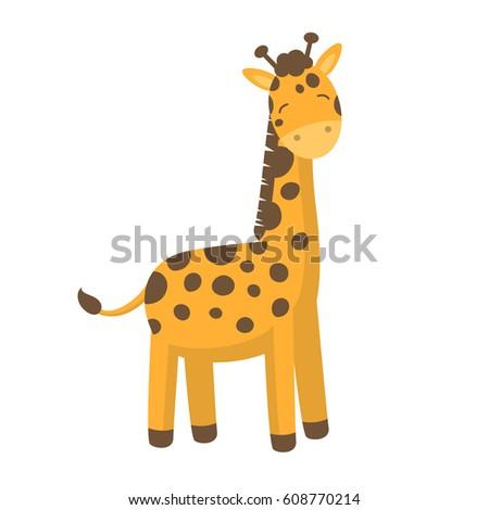 Vector Illustration of a Cute Little Giraffe