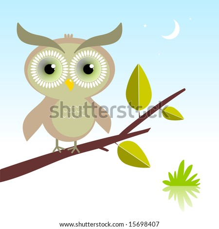 Vector illustration of a cute owl, with hypnotic green eyes, sitting in the night.