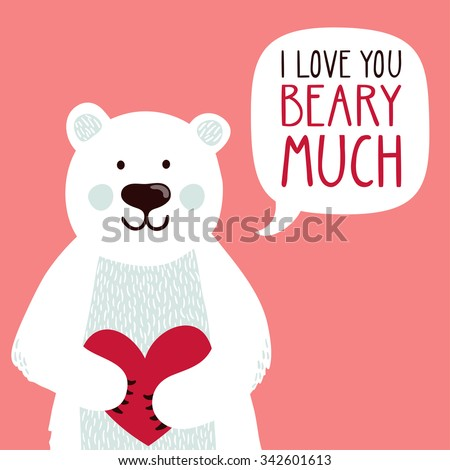 Vector Illustration Of A Cute Polar Bear With A Heart Is Saying I