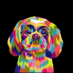vector illustration of a cute puppy with beautiful colorful