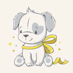 Vector illustration of a cute puppy with yellow ribbon.