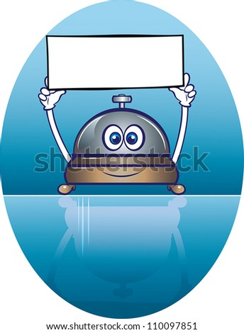 vector illustration of a cute service bell character holding a blank welcome signboard. all elements are in separate layers for easy editing.