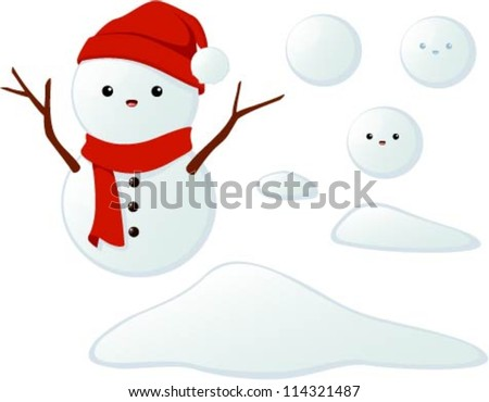Vector illustration of a cute snowman, snowballs and snow piles isolated on white.