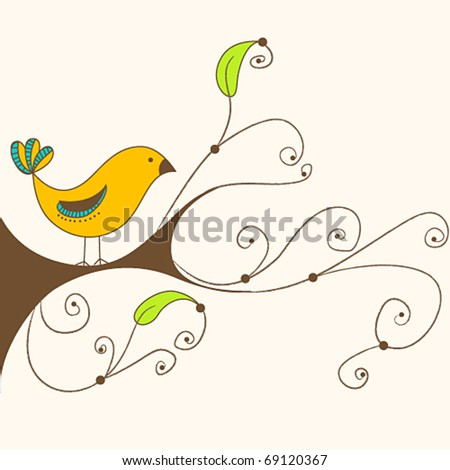 Vector illustration of a cute spring bird on a branch