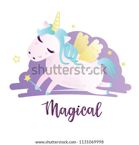 "Vector illustration of a cute unicorn. Greeting card with ""Magical"" inscription. Can be used for cards, flyers, posters, t-shirts. #1131069998"