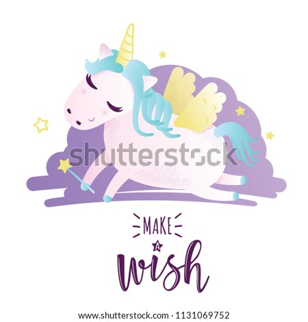 "Vector illustration of a cute unicorn. Greeting card with ""Make a wish"" inscription. Can be used for cards, flyers, posters, t-shirts. #1131069752"