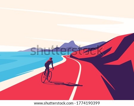 Vector illustration of a cyclist riding along the ocean mountain road. Foto d'archivio ©