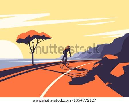 Vector illustration of a cyclist riding along the ocean mountain road. Photo stock ©