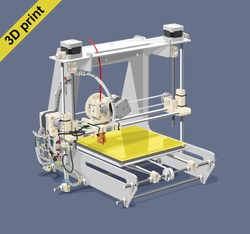 Vector illustration of a 3D printer on gray background. Solid fill only, no gradients.