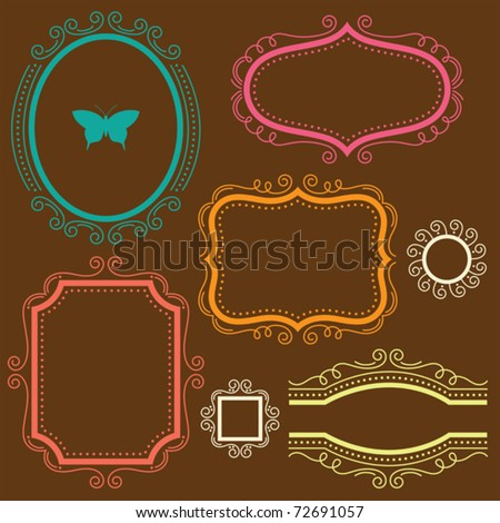 Vector illustration of a decorative frame set.