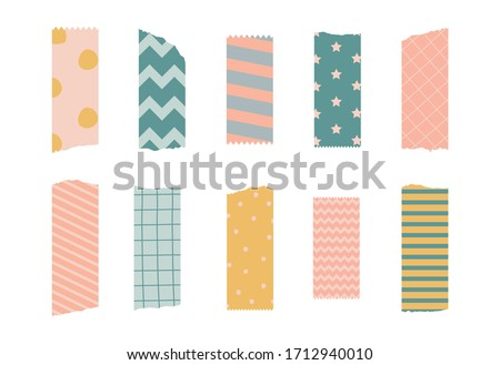 Vector illustration of a decorative tape. Set of pieces of colored patterned washi tape isolated on a white background.