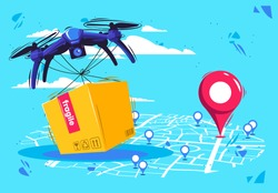 vector illustration of a delivery service by air, delivery of goods and boxes by air using flying drones, with a city map and geolocation tags