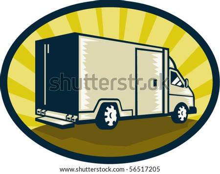 vector illustration of a Delivery van viewed from rear side set inside an ellipse
