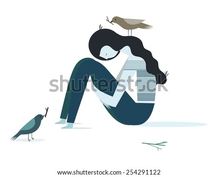 Vector illustration of a depression girl with birds