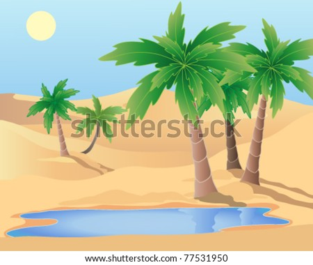 vector illustration of a desert oasis with palm trees and water in eps 10 format - stock vector