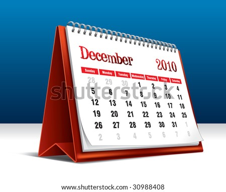 Vector illustration of a 2010 desk calendar showing the month December - stock vector