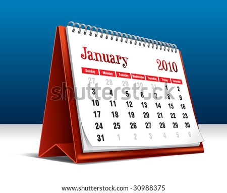 Vector illustration of a 2010 desk calendar showing the month January - stock vector