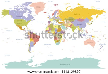 Vector illustration of a detailed Political World map with all Country names colored with pastel colors #1118129897