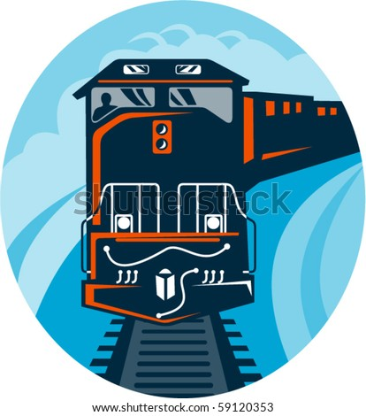 vector illustration of a Diesel Train traveling on tracks straight up