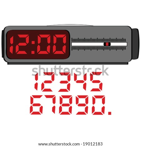 Vector illustration of a digital alarm clock