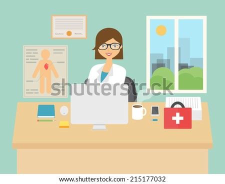 Vector illustration of a doctor sitting at the desk in in the hospital