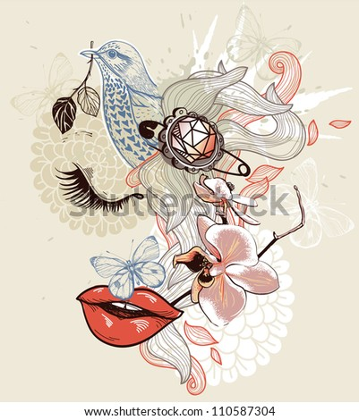 vector illustration of a dreaming girl, flowers and a blue bird