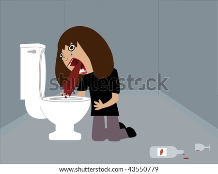 Vector illustration of a drunk woman vomiting red wine.