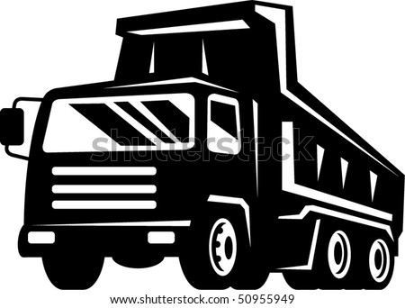 vector illustration of a dump truck viewed from front at low angle