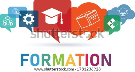 Vector illustration of a education concept. The word formation with colorful dialog speech bubbles Photo stock ©