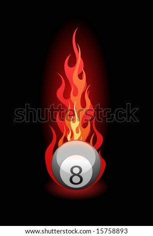 Vector illustration of a 'Eight' billiard ball in fire on black background