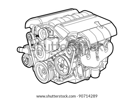vector illustration of a engine