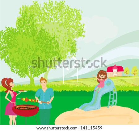 vector illustration of a family having a picnic