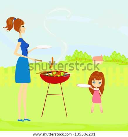 vector illustration of a family having a picnic in a park