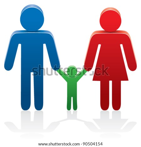 vector illustration of a family with symbols of man, woman and a child - stock vector
