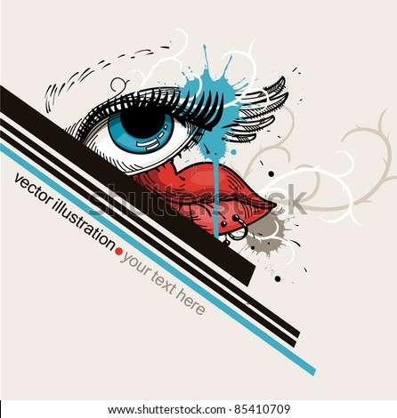 vector illustration of a fantasy blue eye and bright red lips with piercing on an abstract background - stock vector