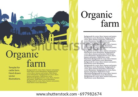Vector illustration of a farm with silhouettes of animals of cows, chickens and trees. Agricultural template.