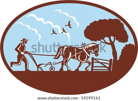 vector illustration of a farmer and his horse plowing the farm field