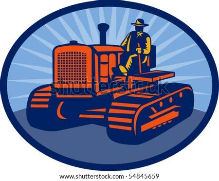 vector illustration of a Farmer driving vintage tractor set inside an oval. - stock vector