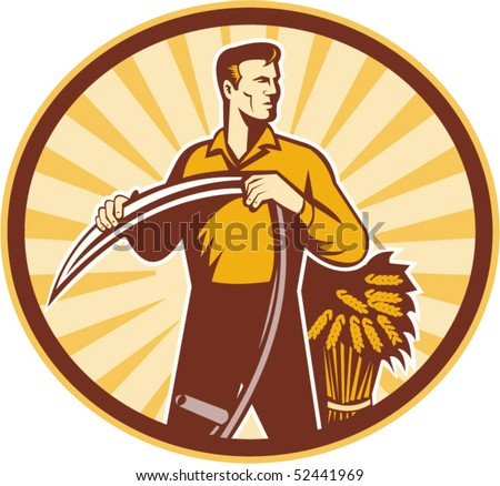 vector illustration of a Farmer standing holding scythe and wheat crop