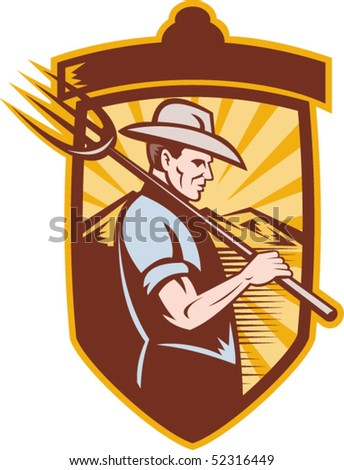 vector illustration of a Farmer with pitch fork and mountains in back