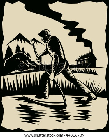 vector illustration of a Farmer with scythe at work with house in background