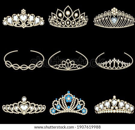 Vector illustration of a fashion collection of jewelry tiaras with diamonds Сток-фото ©
